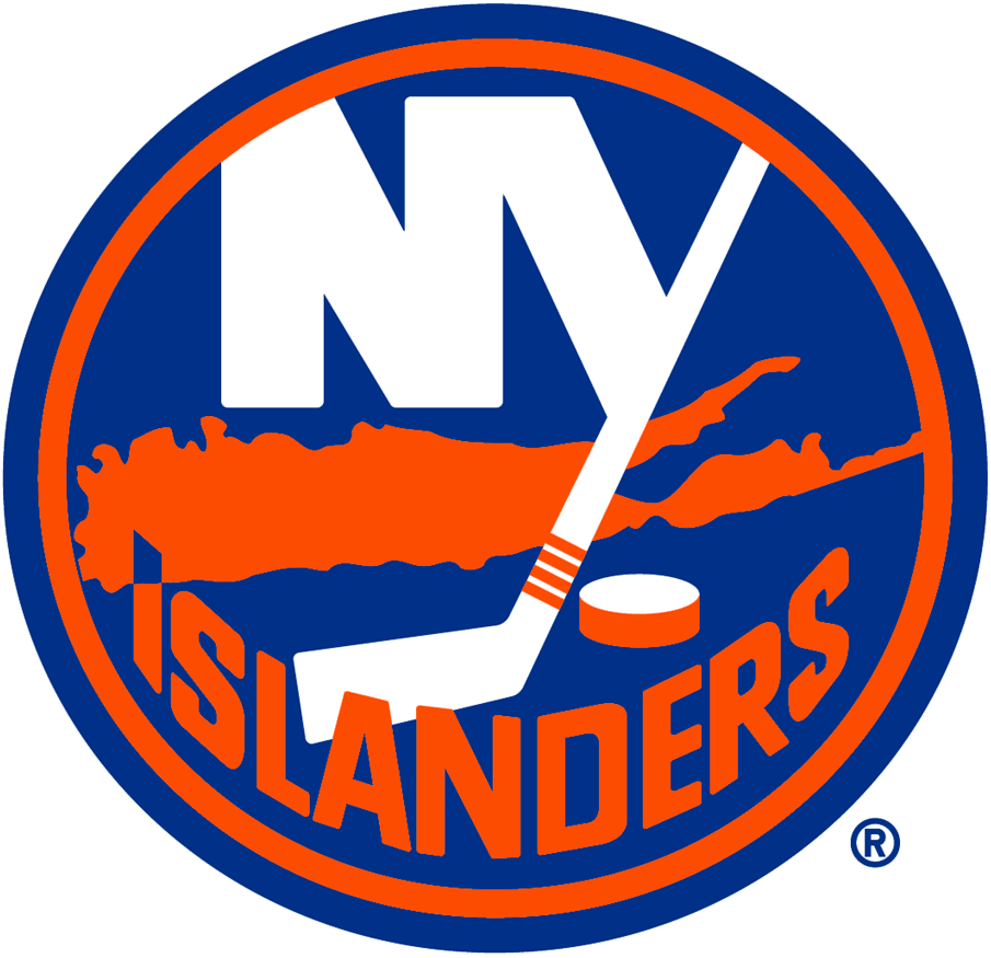 New York Islanders Logo Primary Logo (2017/18-Pres) - NY in white on blue circle with Long Island below in orange, four stripes of tape represent four Stanley Cups - outline added to logo in 2018 SportsLogos.Net