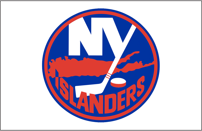 New York Islanders Logo Jersey Logo (1972/73-1975/76) - Worn on New York Islanders home white jersey from 1972/73 until 1975/76, replaced one season with a version without a blue outline in 1976-77. Returned from 1977-78 until 1983-84. In 1984-85 the outline stripes were thickened, SportsLogos.Net