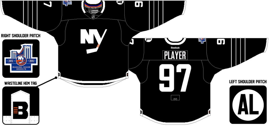 New York Islanders Uniform Alternate Uniform (2015/16-2016/17) - NYI Brooklyn black alternate jersey. SportsLogos.Net