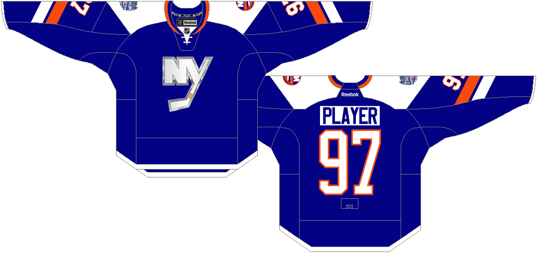 New York Islanders Uniform Special Event Uniform (2013/14) - NY Islanders Stadium Series jersey worn on January 29th 2014 VS New York Rangers at Yankee Stadium. SportsLogos.Net