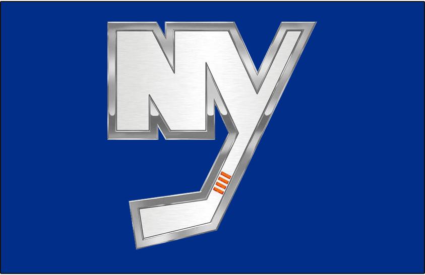 New York Islanders Logo Jersey Logo (2014/15) - NY in chrome on blue, worn on the New York Islanders alternate blue uniform starting in 2014-15 SportsLogos.Net