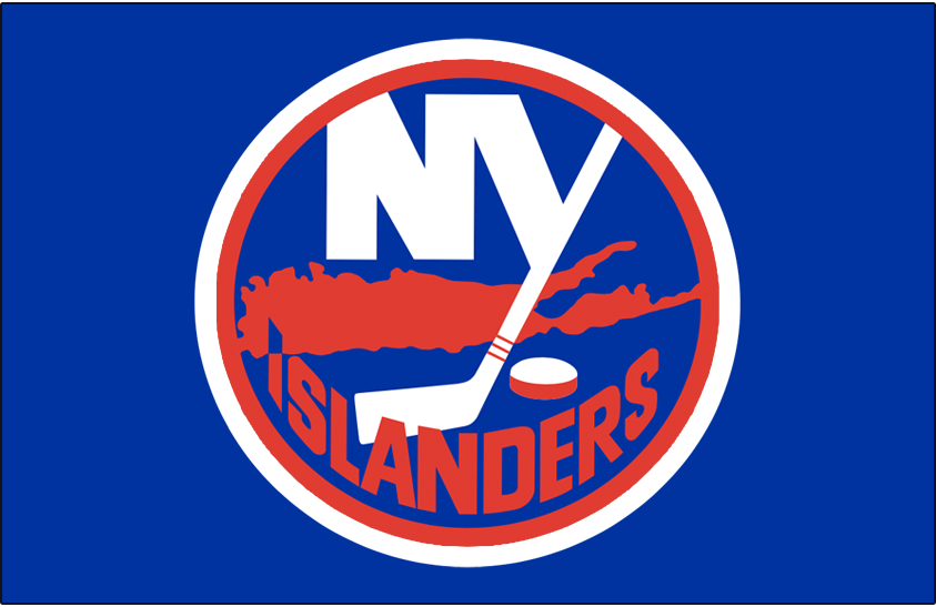 New York Islanders Logo Jersey Logo (1984/85-1994/95) - Worn on New York Islanders road blue jersey from 1984-85 until 1994-95, size of outlines around the logo changed in 1984 SportsLogos.Net