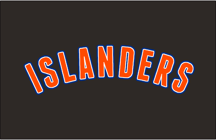 New York Islanders Logo Jersey Logo (2011/12-2013/14) - ISLANDERS arched in orange, white and blue. Worn above player number on the New York Islanders black alternate jersey from 2011-12 until 2013-14 SportsLogos.Net