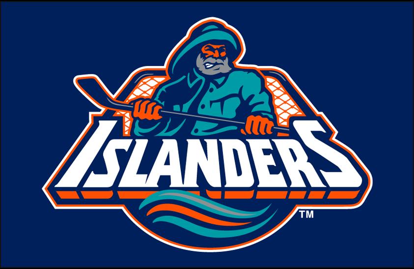 New York Islanders Logo Primary Dark Logo (1995/96-1996/97) - New York Islanders primary fisherman-style logo on blue SportsLogos.Net