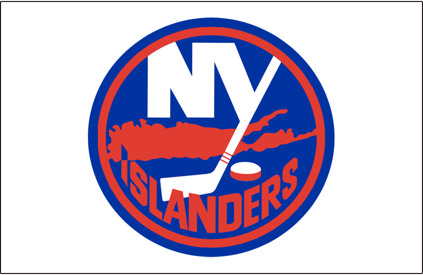 New York Islanders Logo Jersey Logo (1984/85-1994/95) - Worn on New York Islanders home white jersey from 1984-85 until 1994-95, size of outlines around the logo changed in 1984 SportsLogos.Net