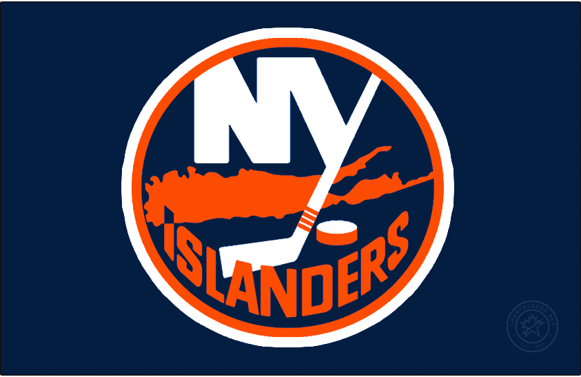 New York Islanders Logo Special Event Logo (2020/21) - The New York Islanders Reverse Retro logo, a throwback to the 1980 season with with the Islanders modern logo recoloured in the darker colours of the late 1990s. The 1980 throwback aspect of this logo comes from the striping on the jersey itself. SportsLogos.Net
