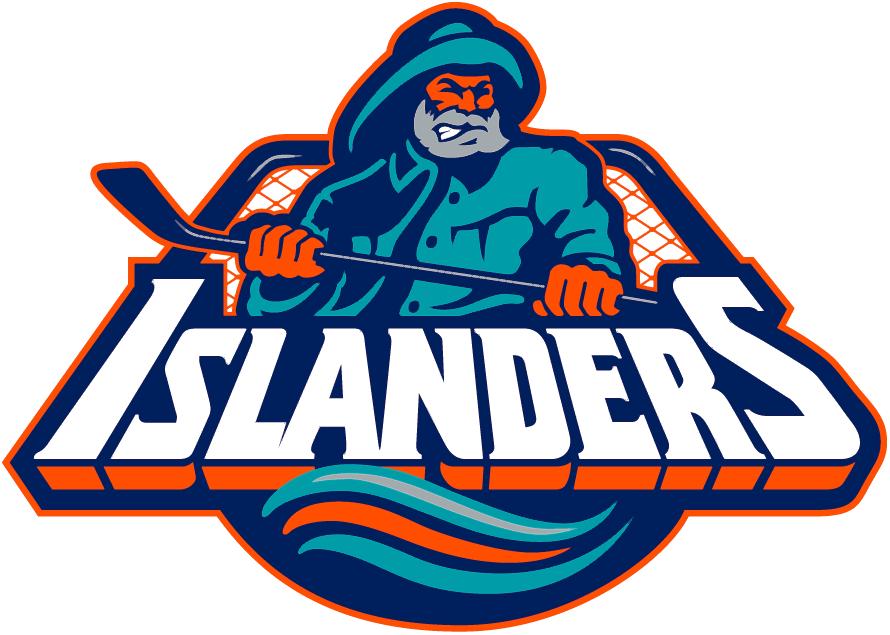 New York Islanders Logo Primary Logo (1995/96-1996/97) - Fisherman in teal and navy holding hockey stick with script below SportsLogos.Net
