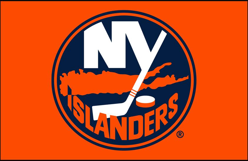 New York Islanders Logo Primary Dark Logo (1998/99-2009/10) - New York Islanders primary logo on orange SportsLogos.Net
