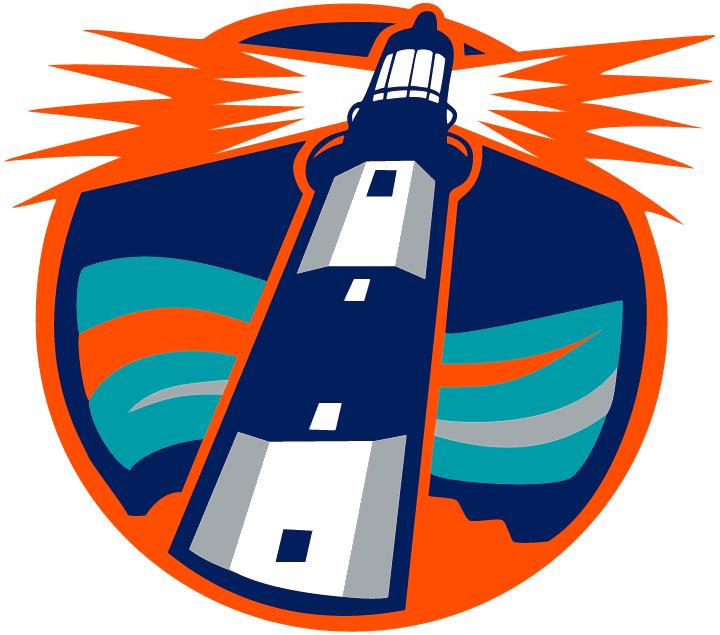 New York Islanders Logo Alternate Logo (1995/96-1997/98) - White lighthouse and teal waves inside navy blue circle SportsLogos.Net