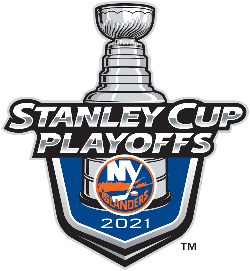 New York Islanders Logo Event Logo (2020/21) - The New York Islanders 2021 Stanley Cup Playoffs logo features the Islanders logo on a blue shield with STANLEY CUP PLAYOFFS written above in silver and 2021 below in white. A depiction of the top-half of the Stanley Cup can be seen above the shield. This logo is used by the Islanders on various materials throughout their participation in the 2021 NHL Stanley Cup Playoffs. SportsLogos.Net