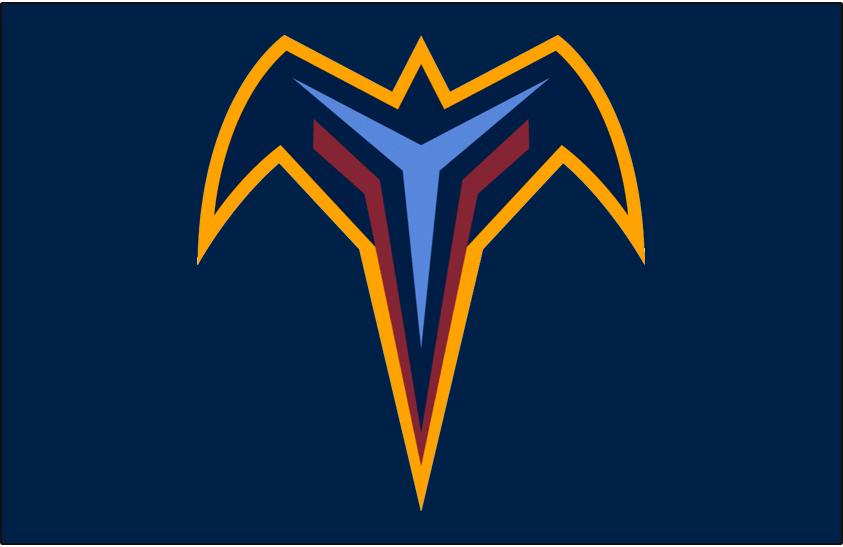 Atlanta Thrashers Logo Jersey Logo (1999/00-2005/06) - Thrashers alternate T logo showing thrasher bird in flight from above with hockey sticks on its wings, worn on Thrashers home and road navy blue jerseys from 1999-2000 inaugural season until 2005-06 SportsLogos.Net