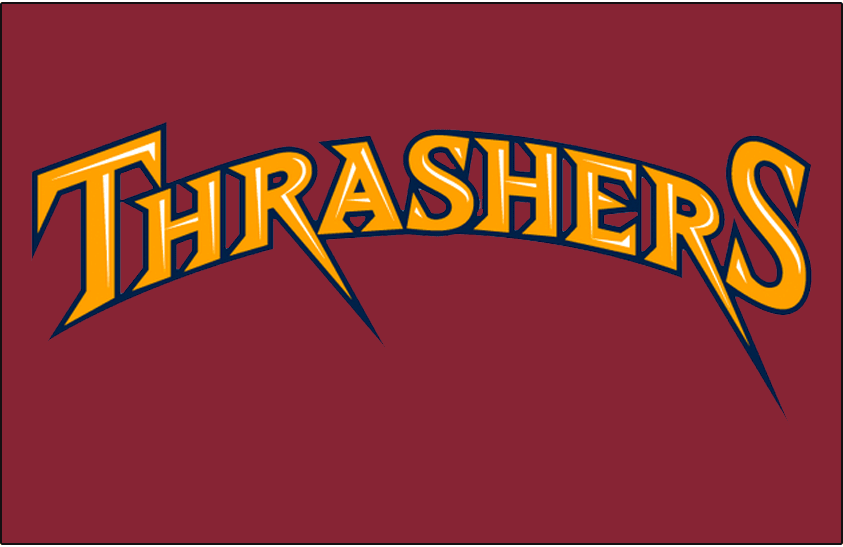 Atlanta Thrashers Logo Jersey Logo (2008/09-2010/11) - THRASHERS arched in yellow and white on burgundy, worn above player number on front of Atlanta Thrashers alternate uniform from 2008-09 until 2010-11 SportsLogos.Net