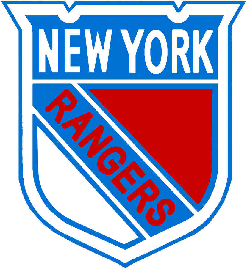 New York Rangers Logo Misc Logo (1926/27-1934/35) - A blue, red, and white shield with NEW YORK across the top and RANGERS diagonally in red SportsLogos.Net
