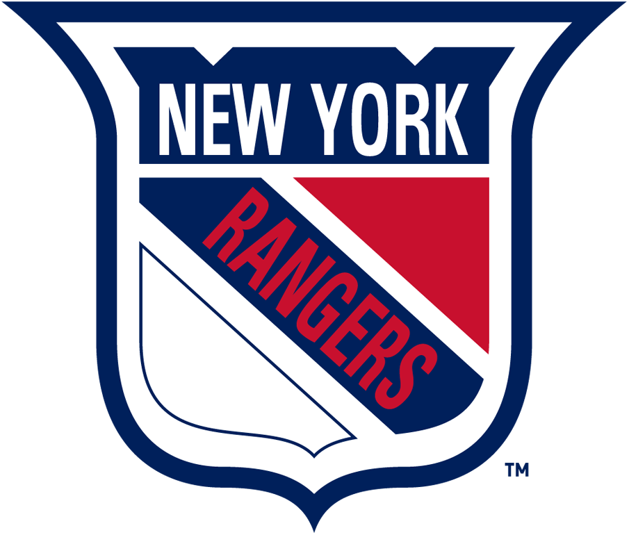 New York Rangers Logo Primary Logo (1952/53-1966/67) - Red, White and Blue shield with New York on top and Rangers slanted SportsLogos.Net