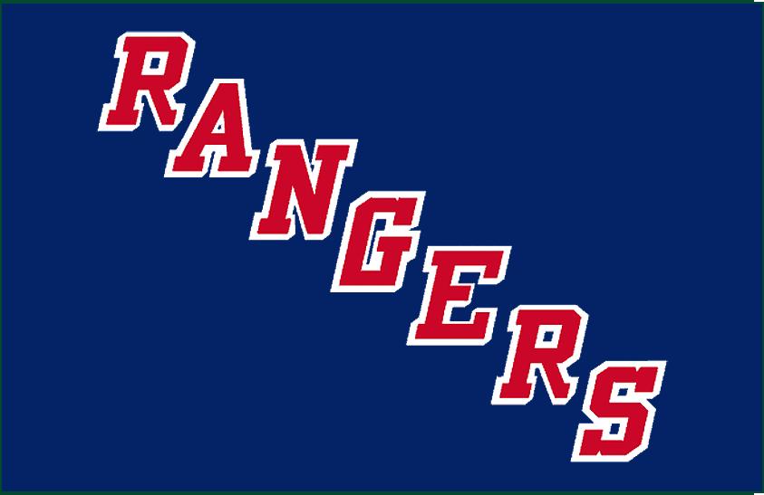 New York Rangers Logo Jersey Logo (1949/50-1975/76) - Rangers in red with white shadow running diagonally SportsLogos.Net