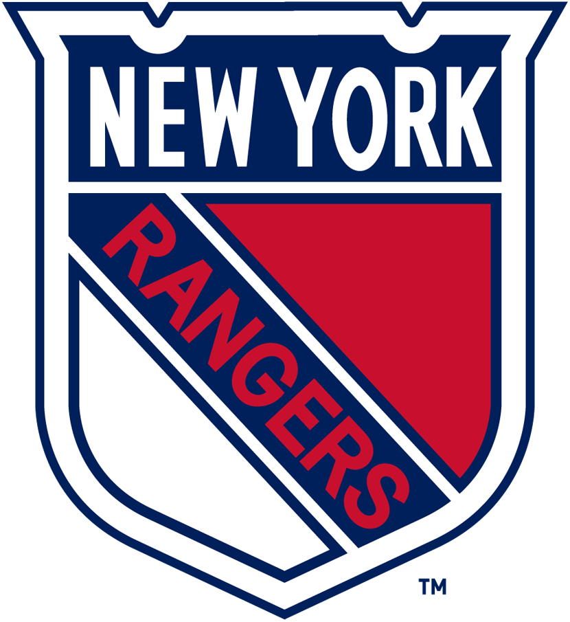 New York Rangers Logo Primary Logo (1926/27-1946/47) - A blue, red, and white shield with NEW YORK across the top and RANGERS diagonally in red SportsLogos.Net