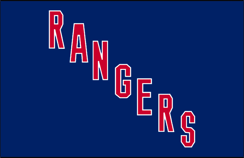 New York Rangers Logo Jersey Logo (1928/29-1940/41) - RANGERS diagonal in blue and red, worn on New York Rangers jersey from 1928-29 through 1940-41 SportsLogos.Net