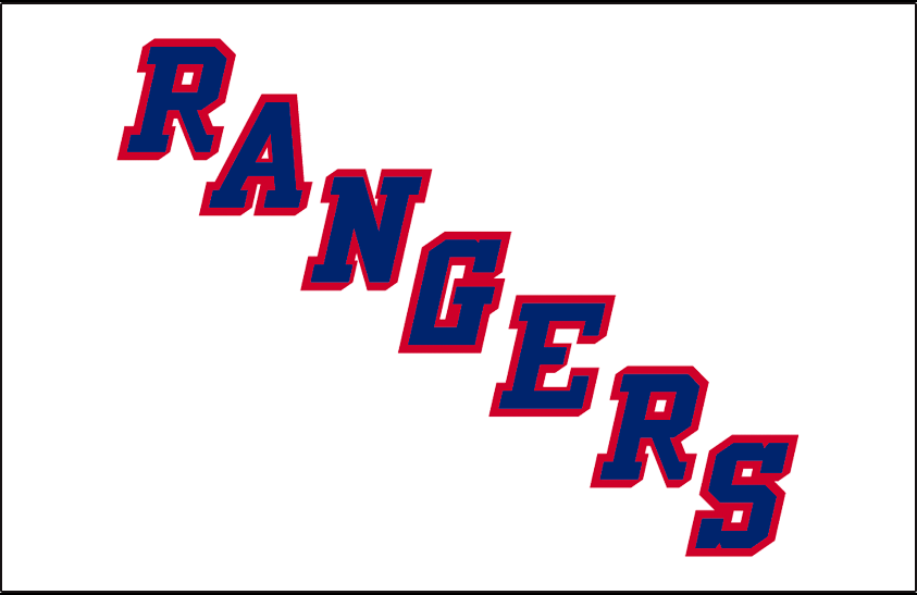 New York Rangers Logo Jersey Logo (1951/52-1975/76) - RANGERS in blue with red drop shadow on white SportsLogos.Net