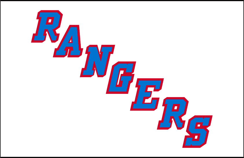 New York Rangers Logo Jersey Logo (1978/79-1998/99) - RANGERS in blue with red drop shadow on white SportsLogos.Net
