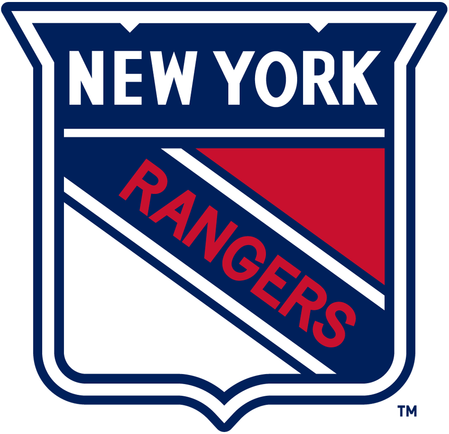 New York Rangers Logo Primary Logo (1947/48-1951/52) - A blue, red, and white shield with NEW YORK across the top and RANGERS diagonally in red SportsLogos.Net