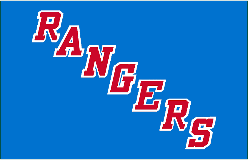 New York Rangers Logo Jersey Logo (1987/88-1998/99) - RANGERS in red with white drop shadow on blue SportsLogos.Net