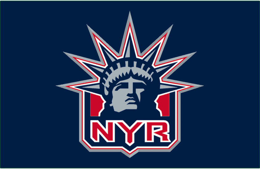 New York Rangers Logo Jersey Logo (1996/97-1997/98) - Alternate Statue of Liberty jersey logo, worn from 1996-97 through 1997-98 and then again from 1999-2000 until 2006-07 SportsLogos.Net