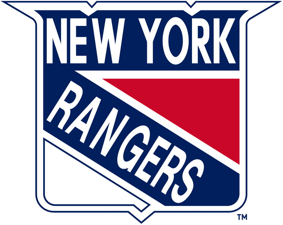 New York Rangers Logo Primary Logo (1967/68-1970/71) - Red, White and Blue shield with New York on top and Rangers slanted SportsLogos.Net