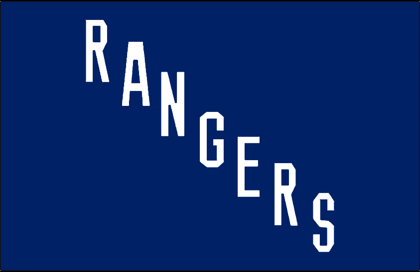 New York Rangers Logo Jersey Logo (1926/27) - RANGERS diagonal in white on blue, worn on New York Rangers jersey in their inaugural 1926-27 season only SportsLogos.Net