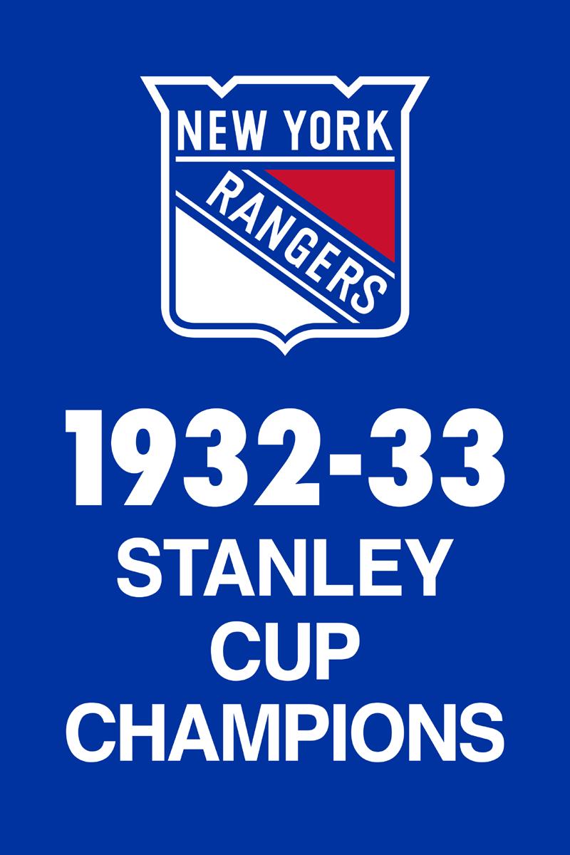 New York Rangers Championship Banner Championship Banner (1932/33) - New York Rangers 1933 Stanley Cup Champions Banner SportsLogos.Net