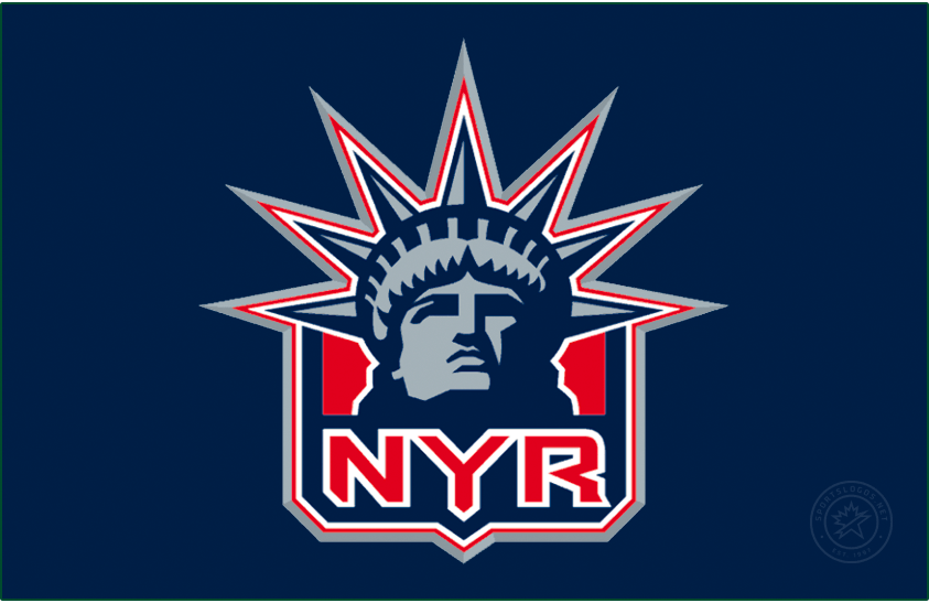 New York Rangers Logo Jersey Logo (2020/21-Pres) - The New York Rangers Reverse Retro logo, a throwback to the 1998 season with with the Rangers alternate Statue of Liberty logo returning - the head of the Statue on a red and blue shield and NYR below. SportsLogos.Net