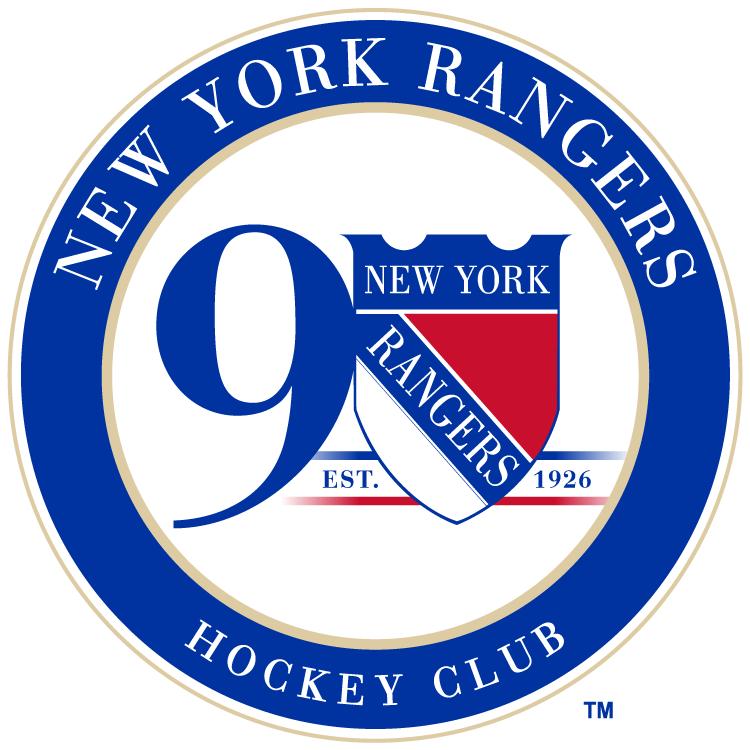 New York Rangers Logo Anniversary Logo (2016/17) - 90th Anniversary logo worn as jersey patch for the 2016-17 season. SportsLogos.Net