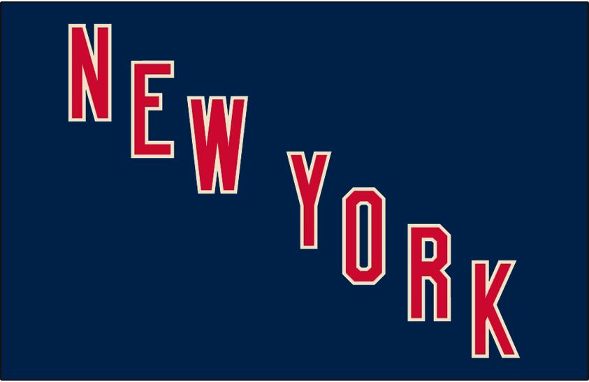 New York Rangers Logo Jersey Logo (2010/11-2016/17) - NEW YORK in red with heritage white trim on dark navy blue -- worn on New York Rangers heritage style alternate uniform starting in 2010-11 season SportsLogos.Net