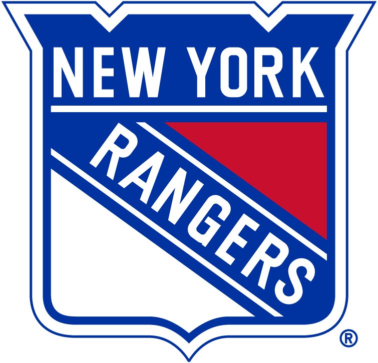 New York Rangers Logo Primary Logo (1999/00-Pres) - Red, White and Blue shield with New York on top and Rangers slanted SportsLogos.Net