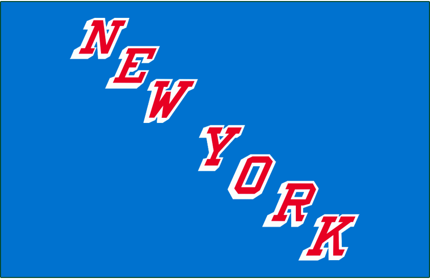 New York Rangers Logo Jersey Logo (1978/79-1986/87) - NEW YORK diagonal in red with white drop shadow on blue. Worn on Rangers road blue jerseys from 1978/79 through 1986/87 SportsLogos.Net