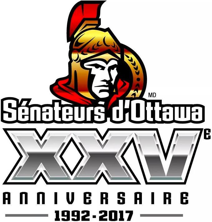 Ottawa Senators Logo Unused Logo (2016/17) - Logo pour Les Senateurs d'Ottawa 25e anniversaire (version francais). Ottawa Senators 25th Anniversary French Logo. This logo was replaced following fan criticism. SportsLogos.Net