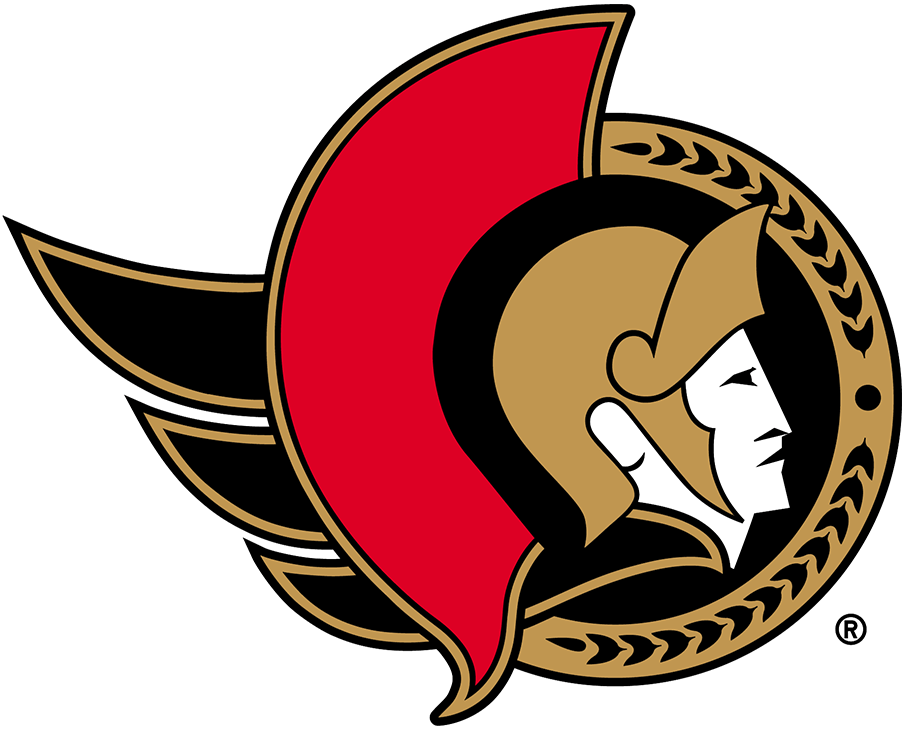 Ottawa Senators Logo Primary Logo (2020/21-Pres) - Known as the Senators 2D Centurion logo, this design features the profile of a Roman senator wearing a gold helmet placed inside a black circle. To the left is a red helmet decoration as well as a flowing gold cape, a semi circle in gold to the right featuring a series of laurel leaves. The Ottawa Senators used a similar version of this logo until 2007, the colour of the cape was changed from red to gold for the 2021 edition. SportsLogos.Net