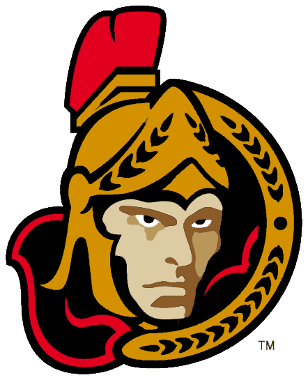 Ottawa Senators Logo Alternate Logo (1997/98-2001/02) - The first third jersey in Ottawa Senators team history came with this new logo which was placed on the front. The logo featured the centurion logo but now turned to instead face the viewer. This version of the logo was used from 1997-98 until the end of the 2001-02 season when some adjustments were made to the shading on the face of the logo. SportsLogos.Net