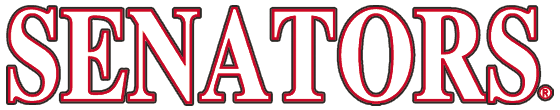 Ottawa Senators Logo Wordmark Logo (1992/93-2006/07) - Senators in white and red captials SportsLogos.Net