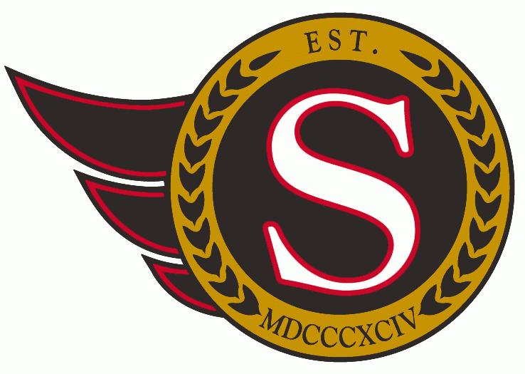 Ottawa Senators Logo Alternate Logo (1992/93-2006/07) - White S in a black and gold circle SportsLogos.Net