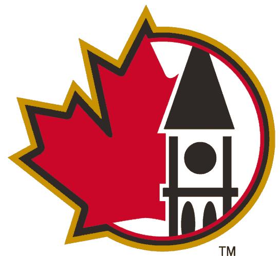 Ottawa Senators Logo Alternate Logo (2000/01-2006/07) - Peace Tower in black next to a red maple leaf SportsLogos.Net