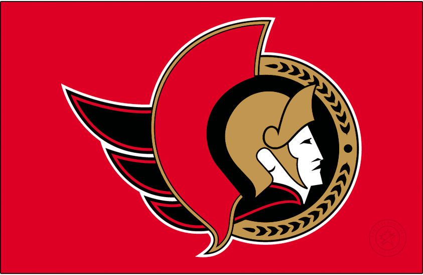 Ottawa Senators Logo Jersey Logo (2020/21-Pres) - The Ottawa Senators Reverse Retro logo, a throwback to the 1993 season with with the Sens logo of the era but recoloured in the modern colour scheme. Logo shows the profile of a Centurion senator head wearing a gold helmet within a gold and red circle. Worn on a red jersey. SportsLogos.Net