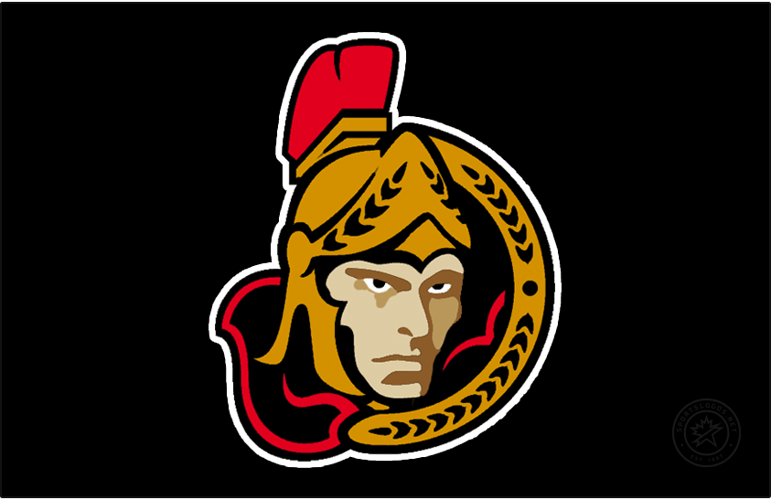 Ottawa Senators Logo Jersey Logo (2000/01-2001/02) - With the promotion of the previous third jersey to the road jersey, the Senators created this new third jersey featuring the same logo now on a black jersey. The logo shows the Senators familiar Centurion logo but now turned to face the viewer. This logo was altered slightly following the 2001-02 season, the shading of the face was simplified. SportsLogos.Net