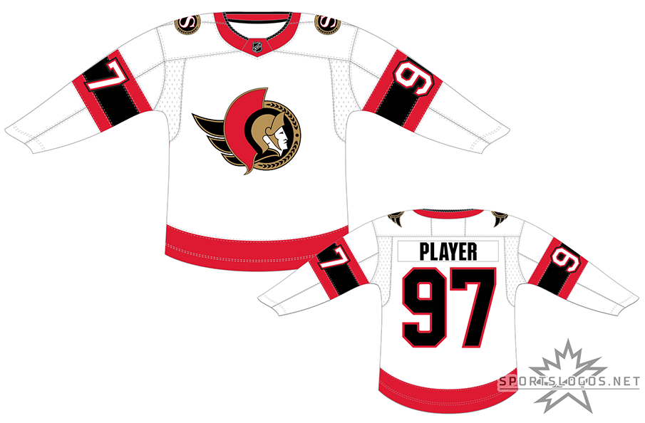 Ottawa Senators Uniform Light Uniform (2020/21-Pres) - A return of sorts for the Ottawa Senators as the club brings back a uniform very similar to what the club had last worn 15 years earlier. Worn for road games, the jersey returns the 2D Centurion logo to the chest,  two red stripes flanking a thicker black stripe on each sleeve, a single red stripe at the bottom, and white numbers trimmed in red. The Ottawa Senators made the jump back in time to begin the 2020-21 NHL season. SportsLogos.Net
