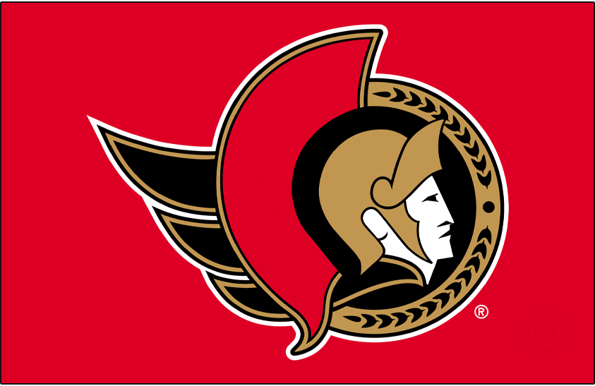 Ottawa Senators Logo Primary Dark Logo (2020/21-Pres) - Known as the Senators 2D Centurion logo, this design shown here on red features the profile of a Roman senator wearing a gold helmet placed inside a black circle. To the left is a red helmet decoration as well as a flowing gold cape, a semi circle in gold to the right featuring a series of laurel leaves. The Ottawa Senators used a similar version of this logo until 2007, the colour of the cape was changed from red to gold for the 2021 edition. SportsLogos.Net