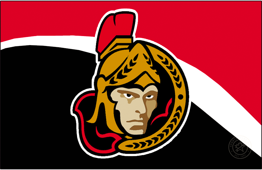 Ottawa Senators Logo Jersey Logo (1997/98-2001/02) - The first third jersey in Ottawa Senators team history came with this new logo which was placed on the front. The logo featured the centurion logo but now turned to instead face the viewer. This version of the logo was used from 1997-98 until the end of the 2001-02 season when some adjustments were made to the shading on the face of the logo. The jersey this was placed on was red with a large black stripe across the front, it became the full-time road jersey for the 1999-2000 season. SportsLogos.Net
