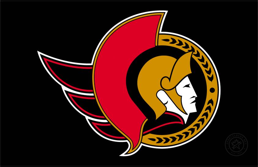 Ottawa Senators Logo Jersey Logo (1997/98-1998/99) - Ottawa Senators logo on black, worn on the Senators black road jersey in the 1997-98 and 1998-99 seasons only SportsLogos.Net