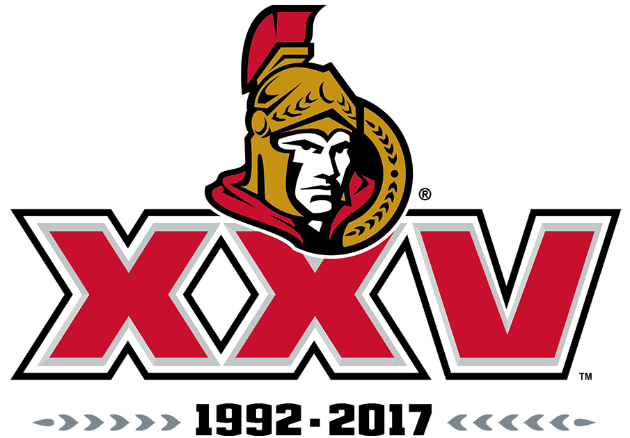 Ottawa Senators Logo Anniversary Logo (2016/17) - To celebrate their 25th anniversary season, the Ottawa Senators used this logo featuring the club's 3D style centurion mark above an XXV in red (the Roman numeral for 25), two silver laurel leaves, and their inaugural (1992) and present years (2017) in black. This logo replaced an earlier 25th anniversary design which had been dropped following criticism from fans and media. SportsLogos.Net