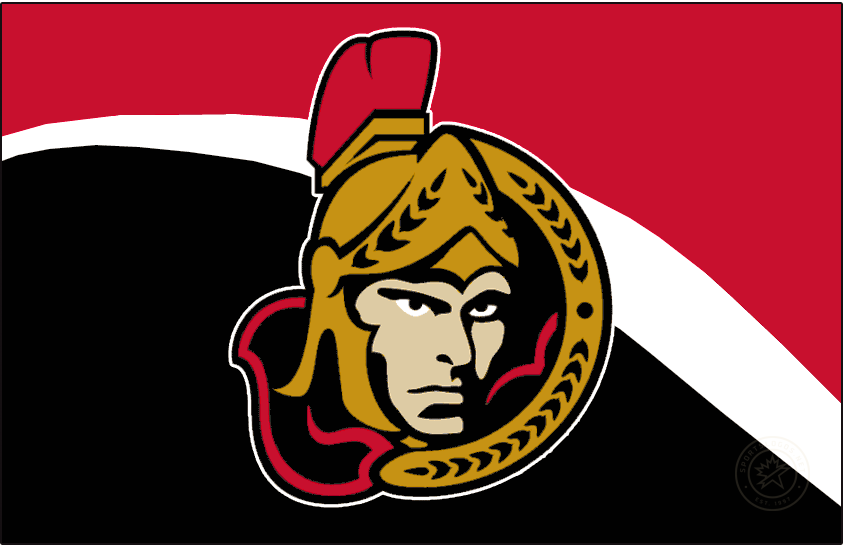 Ottawa Senators Logo Jersey Logo (2002/03-2006/07) - A forward-facing version of the Ottawa Senators centurion logo on a red jersey with black and white swoosh design. Worn on Senators home jersey from 2003-04 through 2006-07. This version was tweaked slightly from the previous logo, the shading on the face was simplified considerably. SportsLogos.Net