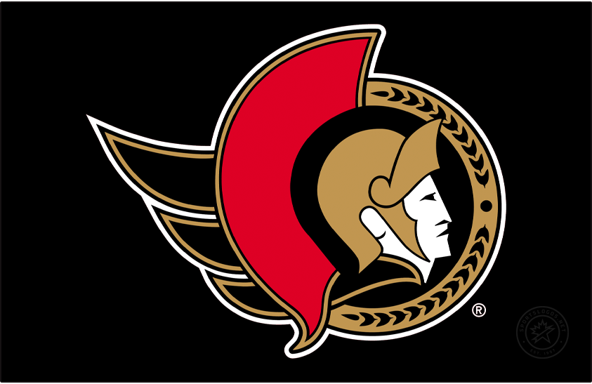 Ottawa Senators Logo Primary Dark Logo (2020/21-Pres) - Known as the Senators 2D Centurion logo, this design shown here on black features the profile of a Roman senator wearing a gold helmet placed inside a black circle. To the left is a red helmet decoration as well as a flowing gold cape, a semi circle in gold to the right featuring a series of laurel leaves. The Ottawa Senators used a similar version of this logo until 2007, the colour of the cape was changed from red to gold for the 2021 edition. SportsLogos.Net