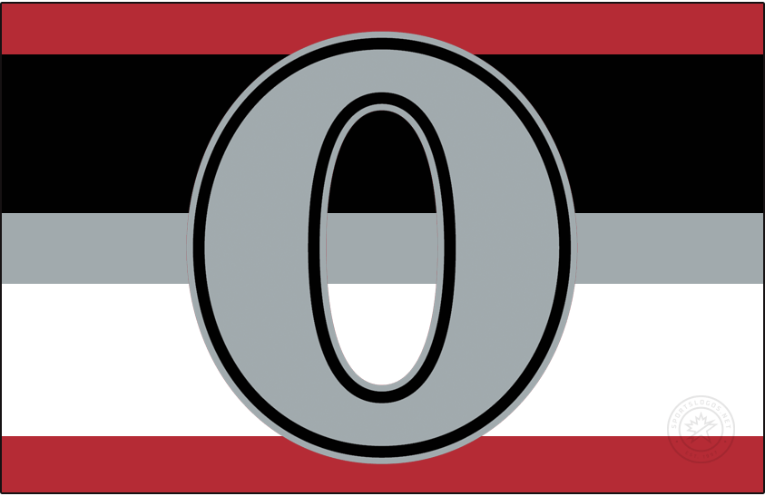 Ottawa Senators Logo Jersey Logo (2017/18-2019/20) - Originally designed to be worn during the outdoor NHL100 Classic held in Ottawa, this logo featuring a silver O trimmed in black and silver was eventually adopted as a new third jersey by the Ottawa Senators. The jersey was red with three horizontal stripes running across the front, black, silver, and white to give the classic barberpole look a modern spin. SportsLogos.Net